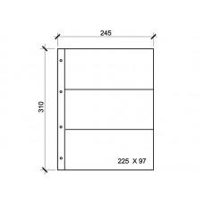 "Лист для банкнот, открыток, фото. на 3 ячейки. Стандарт ""GRAND"". Размер 245 х 310 мм (КЛФ3-G)"