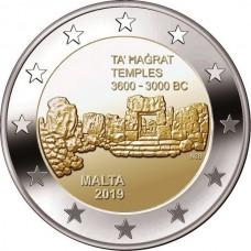 Изображение мальтийских доисторических комплексов - Та' Хаджрат. 2 евро 2019 года.  Мальта. Из банковского ролла. (UNC)