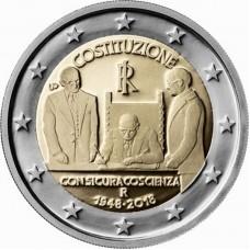 70-летие конституции Итальянской Республики. 2 евро 2018 года. Италия (UNC)