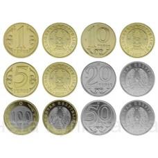 Казахстан полный набор 1 5 10 20 50 100 тенге, разменные монеты 2019 года!  UNC. КАЗАХСТАН (6 монет)