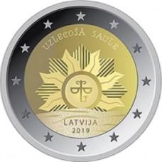 Восходящее солнце. 2 евро 2019 года.  Латвия . Из банковского ролла (UNC)