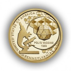 Вакцина против полиомиелита, Пенсильвания. Американские инновации  1 доллар 2019 США. (Двор D) Из банковского мешка. UNC