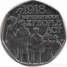 100 лет представления Закона о народе. Монета 50 пенсов 2018 год.. Великобритания. Из банковского мешка. UNC