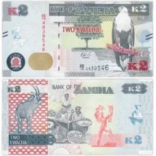 Банкнота 2 квача 2018 год. Замбия. Pick 49d. Из банковской пачки (UNC)