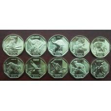Набор памятных монет 1 соль Перу 2017-2019 г.г.,  серия «Вымирающая дикая природа Перу» (10 монет)