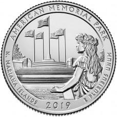 Американский мемориальный парк 25 центов 2019 года США. №47. (монетный двор Филадельфия) (UNC)