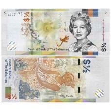 Банкнота 1/2 доллара 2019 года Багамские острова. Из банковской пачки (UNC)