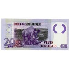 Полимерная банкнота 20 метикал 2017 года. Мозамбик. Pick 149b. Из банковской пачки (UNC)