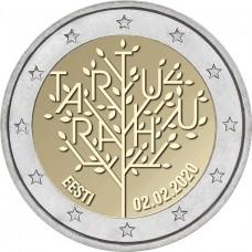 100-летие Тартуского мирного договора между РСФСР и Эстонией. Монета 2 евро 2020 года.  Эстония (UNC)