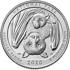 Национальный парк Американского Самоа. 25 центов 2020 года США. № 51. Монетный двор Сан-Франциско UNC