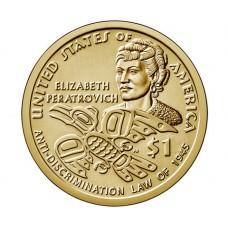 Элизабет Ператрович. Сакагавея (Коренные американцы). Монета 1 Доллар 2020 года. (Двор P) UNC