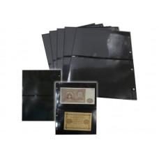 Лист для открыток, фото и банкнот  2 ячейки на чёрной основе (ЛЧФ2-G, двухсторонний). СОМС