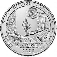 Национальный исторический парк Рокфеллера. 25 центов 2020 года США. № 54. (монетный двор Денвер) UNC