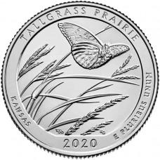 Национальный заповедник Толлграсс-Прери. 25 центов 2020 года США. № 55 (монетный двор Денвер) UNC