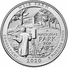 Национальное историческое место «Ферма Дж. А. Вейра». 25 центов 2020 года США. № 52.  (монетный двор Филадельфия) UNC