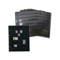 Лист  на чёрной основе для марок и банкнот 200 мм * 250 мм . На 7 ячеек 180*30 мм. Формат OPTIMA (двухсторонний)