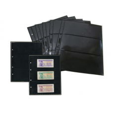 Лист  на чёрной основе для марок и банкнот 200 мм * 250 мм . На 3 ячейки 180*80 мм. Формат OPTIMA (двухсторонний)