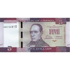 Банкнота 5 долларов 2016 год. Либерия UNC
