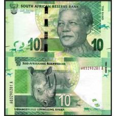 Банкнота 10 рэндов 2012 года. ЮАР. UNC