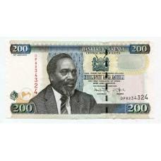 Банкнота 200 шиллингов 2010 года. Кения UNC