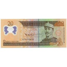 Полимерная банкнота 20 песо 2009 года. Доминикана. KM# 182. UNC