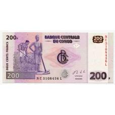 Банкнота 200 франков 2013 года. ДР Конго.UNC