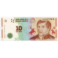 Банкнота 10 песо 2016 года. Аргентина. UNC