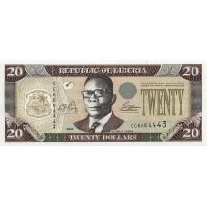 """Банкнота 20 долларов 2003 год. Либерия """"Уильям Табмен. Местный базар"""" UNC"""
