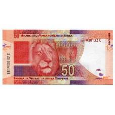 Банкнота 50 рэндов 2012 года ЮАР. Из банковской пачки