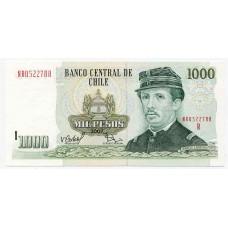 Банкнота 1000 песо Чили.  Из банковской пачки