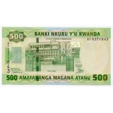 Банкнота 500 франков 2008 года  Руанда. Из банковской пачки