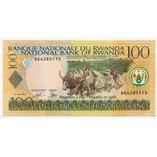 Банкнота 100 франков 2003 года  Руанда. Из банковской пачки