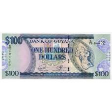 Банкнота 100 долларов 2016 года Гайана. Из банковской пачки