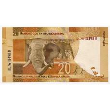 Банкнота 20 рэндов 2012 года ЮАР. Из банковской пачки