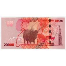 Банкнота 20000 шиллингов 2010 года Уганда. Из банковской пачки