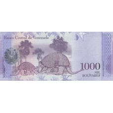 Банкнота 1000 боливар 2017 год. Венесуэла.  «Гигантские броненосцы» UNC
