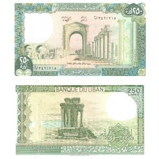 Банкнота 250 ливров 1988 года. Ливан UNC