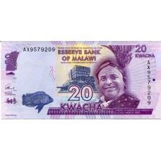 Банкнота 20 квача 2015 год. Малави (UNC)