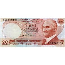 Банкнота 20 лир 1974 года. Турция (UNC)