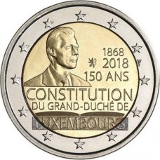 150-летие Конституции Люксембурга. 2 евро 2018 года.  Люксембург. (UNC)