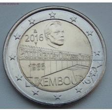 50-летие моста великой герцогини Шарлотты. 2 евро 2016 года,  Люксембург.