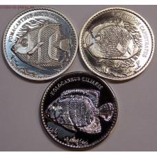 Рыбы. Набор монет 10 рупий 2013 года. Остров Авокарде (3 монеты)