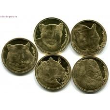 Дикие кошки. Набор 5 монет. 5 шиллингов  2016 года.  Сомалиленд (UNC)