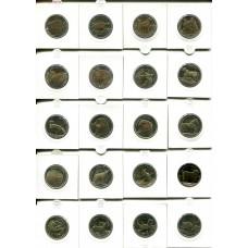 """Набор """"Красная Книга"""" 1 лира. Биметалл. Турция  (20 монет - UNC)"""