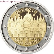 400-летие завершения строительства собора Святого Марка в Венеции. 2 евро 2017 года. Италия (UNC)